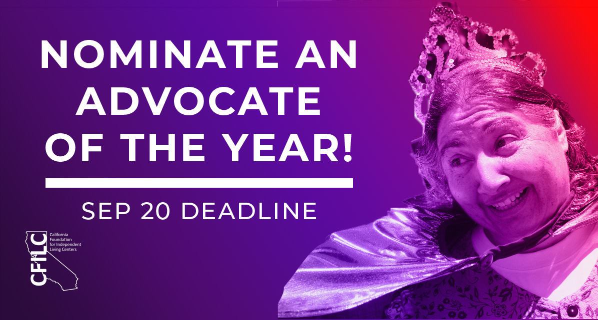Nominate an advocate of the year! Sep 20 Deadline. Banner featuring Teressa Favuzzi.