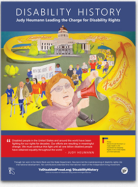 Graphic of a Disability History poster featuring Judy Heumann.