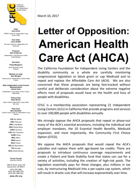 CFILC Letterhead reading: Letter of Opposition. American Health Care Act (AHCA)