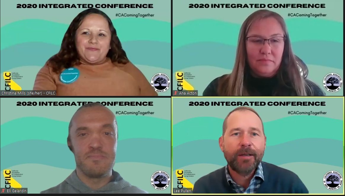 Screenshot of four diverse individuals in a Zoom meeting.